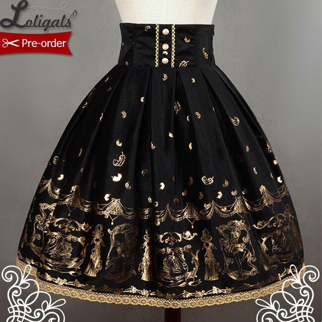 Soufflesong Swan Lake negro de cintura alta estampado Lolita falda para dama envío gratis-in Faldas from Ropa de mujer    1
