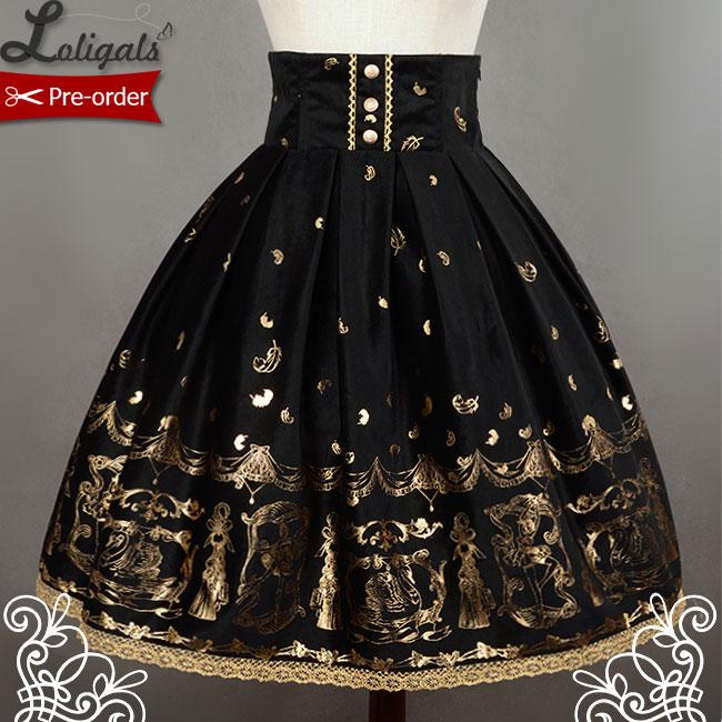 Soufflesong بحيرة البجع الأسود عالية الخصر المطبوعة لوليتا تنورة لسيدة شحن مجاني-في تنورة من ملابس نسائية على  مجموعة 1
