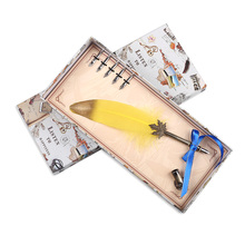 Collectable Supplies Vintage Natural Feather Quill Pen Metal Nibs Dip Ink Writing Set Stationery Gift Box With 6 YJ-2021