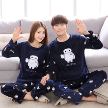 Autumn Winter Couple Baymax Cartoon Plus Thick Pajama with Long Sleeve Long Pant O Neck Warm Large Size Pajama Sets Home Suits