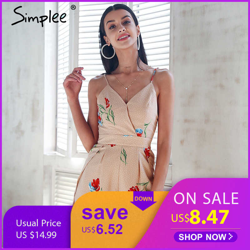 1f2c11f7d6c Simplee Sexy v neck print boho jumpsuit romper Backless tie up short  jumpsuit women Pleated high
