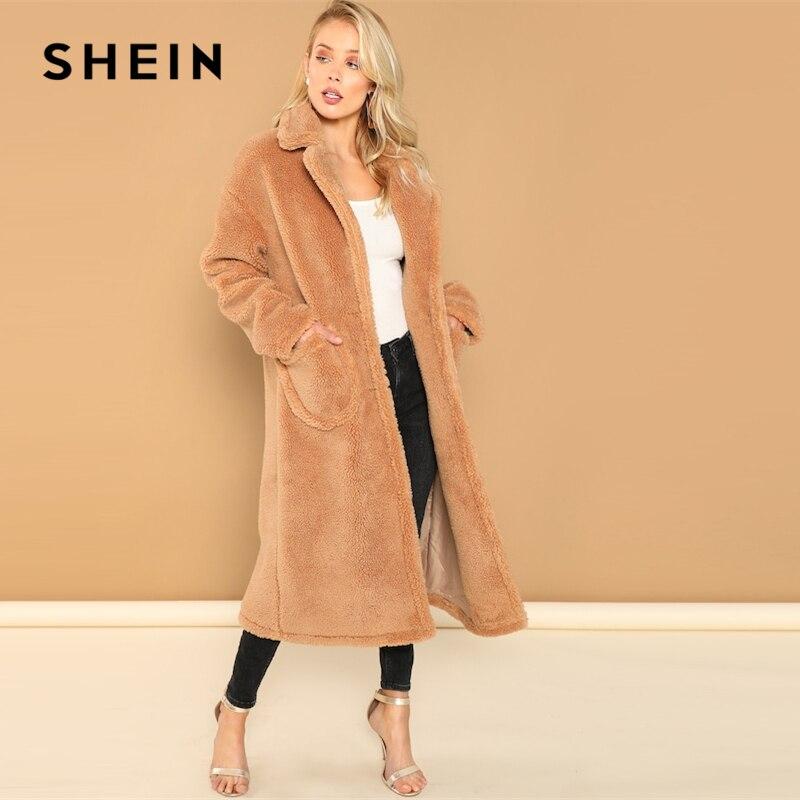 Шеин коричневый Повседневное Термальность Solid Pocket Notch Collar Однобортный Тедди длинное пальто осень Офисные женские туфли Для женщин пальто и ...