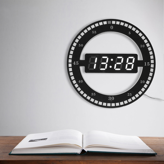 Circular Photoreceptive LED Digital Wall Clock Modern Design Dual-use Dimming Digital Clocks For Home Decoration EU/US PLUG
