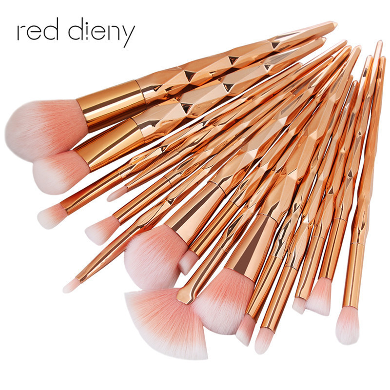 15PCS RoseGold Makeup Brush Set High Quality Foundation Blusher Powder Brush Tools Flat Eyeliner Eyebrow Makeup Brush Kit