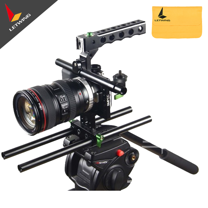 Lanparte BMPCC-01 Cage Basic Handle Rig for BlackMagic Pocket Cinema Camera jtz dp30 cage baseplate rig top handle for bmpcc blackmagic pocket cinema camera page 6