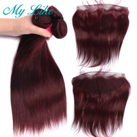 My Like 99j Bundles With Frontal Closure Indian Human Hair Weave Bundles Burgundy Straight 3 Bundles With Frontal Non Remy Hair
