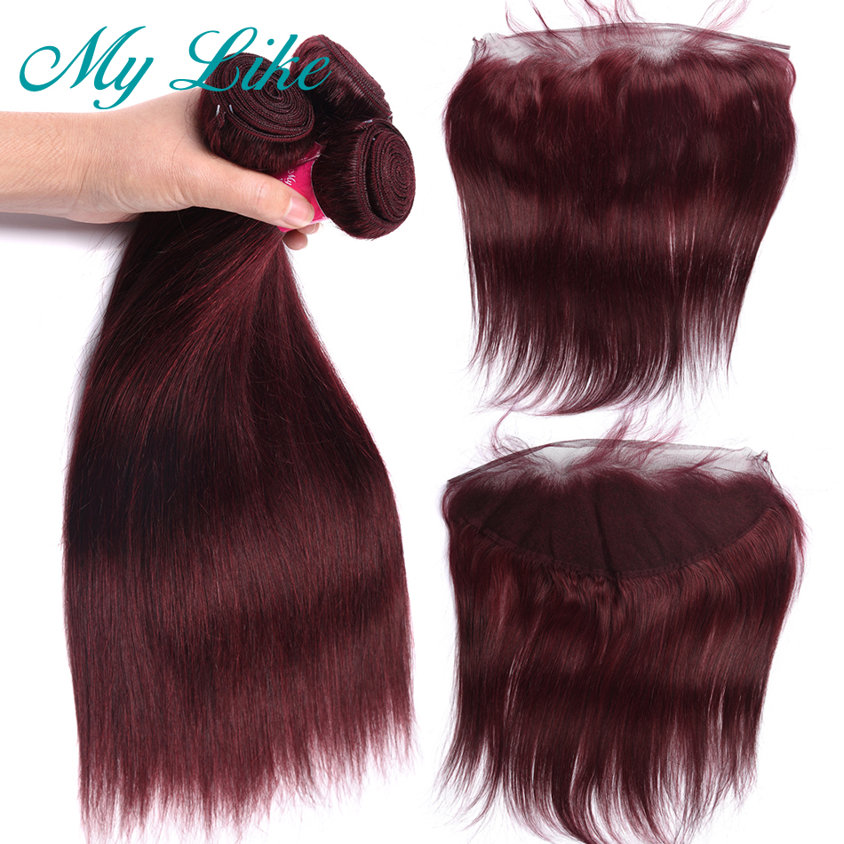 My Like 99j Bundles With Frontal Indian Straight Hair Frontal With Closure Non-Remy Burgundy Hair Weave 3 Bundles With Frontal