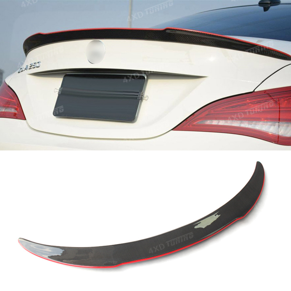 For Mercedes CLA Carbon Spoiler FD Style Carbon Fiber Rear Wing Spoiler with red line CLA Class W117 C117 AMG Spoiler 2013 - UP mercedes cla w117 amg style replacement cf rear trunk wing spoiler for benz 2013 cla 180 cla200 cla 250