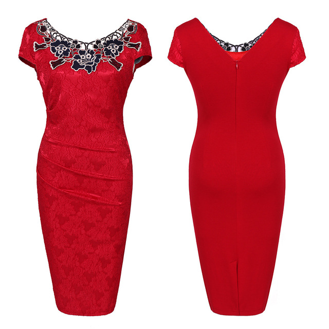 Euro-US style, 2019 new spring summer Women's clothing,Pencil dress,Lace ,Sexy,Round neck, 2