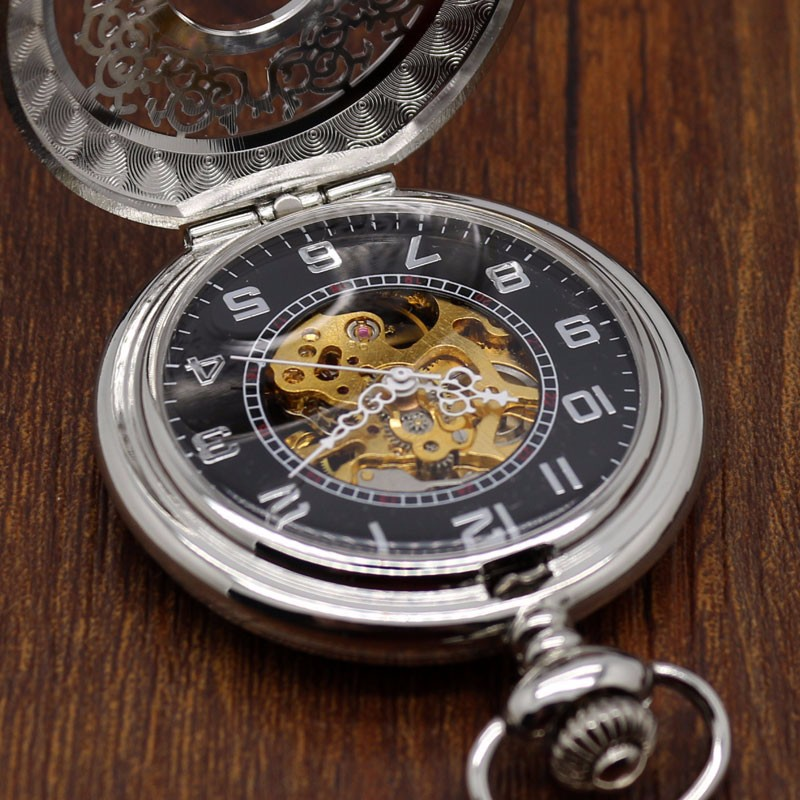 Fashion Hollow Flower Silver Hand Winding Mechanical Pocket Watch Mens Womens Box Bag 9