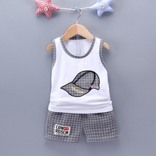 WYNNE GADIS Baby Boys Clothing Sets Baseball Cap Sleeveless Vest Tank Tops + Plaid Shorts Kids Summer Casual Two Pieces Suits