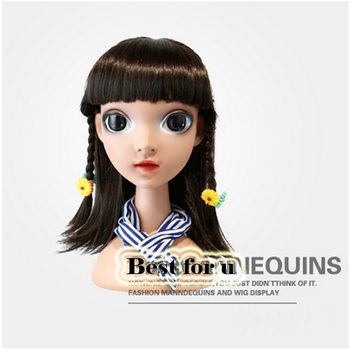 Free Shipping! New Lovely Plastic Child Head Mannequin With Big Eyes Head Model On Sale