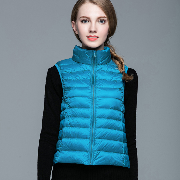 90% White Duck Down Women Vest Autumn Ultra Light Duck Down Vest Sleeveless Jacket Waistcoat Autumn Vest