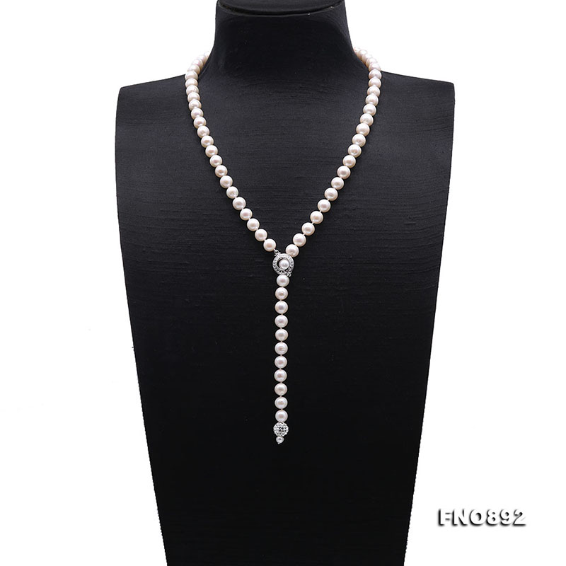 JYX Pearl Long Strand Necklace AA Quality 8-9mm Near-Round White Cultured Freshwater Pearl Necklace Long Sweater Necklace