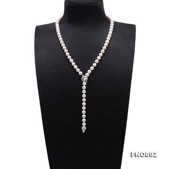 """JYX Elegante Perle Lange Halskette 8-9mm Runde natürliche Weiße Kultivierte Süßwasser Perle Pullover Einstellung Halskette 26,5"""""""