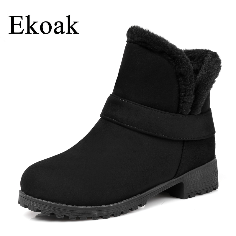 Ekoak Winter Women Boots Fashion Snow Boots Warm Plush Ankle Boots Ladies Flock Shoes Woman Slip-on Rubber Martin Boots 2015 new arrival fashion women winter snow boots warm ladies shoes bowtie slip on soft cute shoes purple color sweet boots