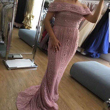 2018 Newest  In stock Strapless Elegant Mermaid Evening Dress Long Sexy Sleeveless Pearls Beading Gowns