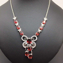 Natural red garnet stone Necklace natural olivine Pendant Necklace S925 silver trendy Luxury big butterfly women Jewelry natural red chalcedony jewelry suits s925 silver europe and the big korean jewelry necklace