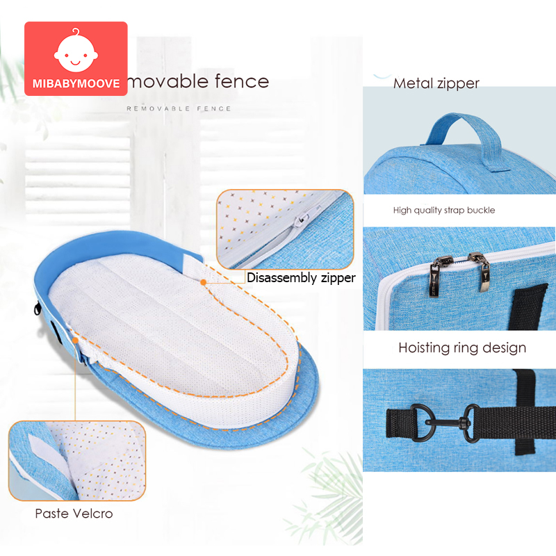 Foldable Baby Portable Bed Bag Multifunctional Newborn Travel Crib Mummy Bags Carry-on Nest Bed Infant Diaper Bag Folding Bed
