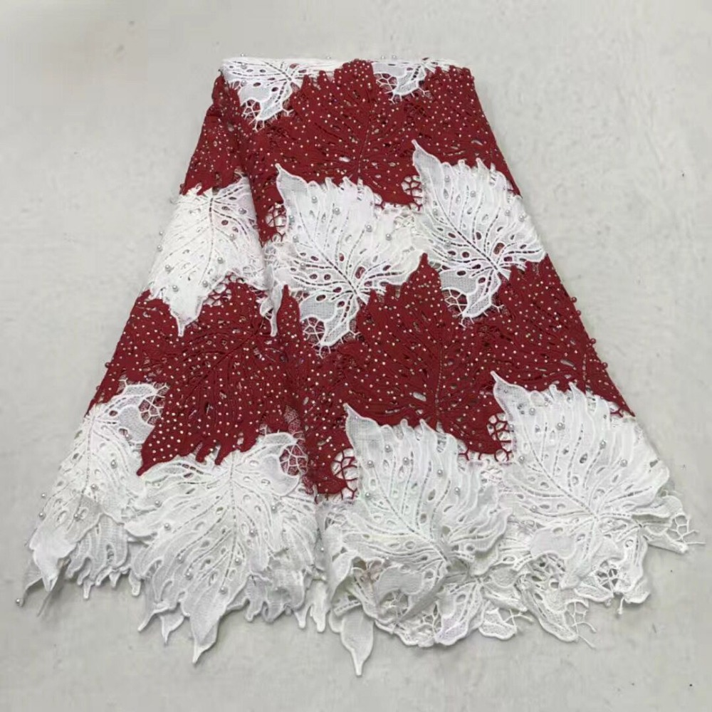 African low-priced 3D embroidered diamond lace with diamond embroidery Nigerian lace new white plus red lace fabric is on sale