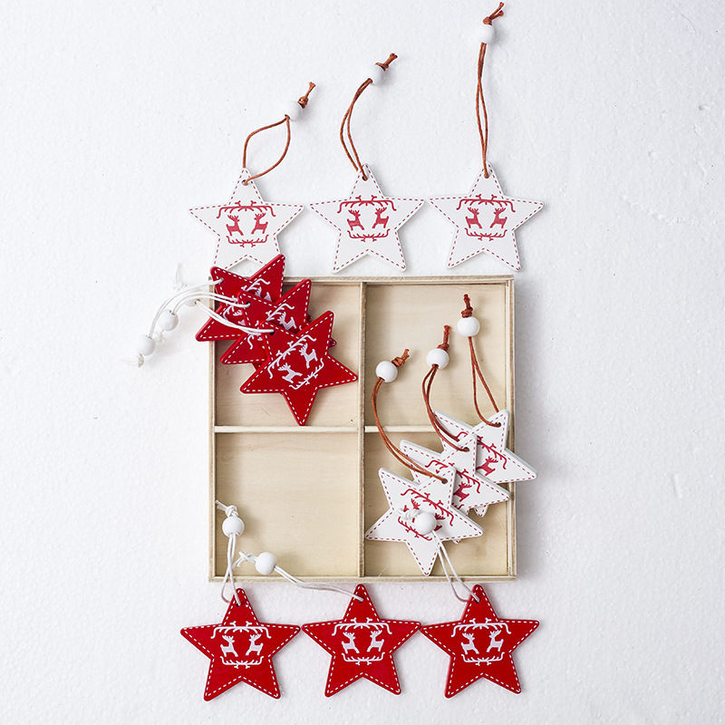 3 12pcs christmas tree decorations wooden hanging pendants ornaments bell frozen wood craft xmas winter decorations for home in pendant drop ornaments