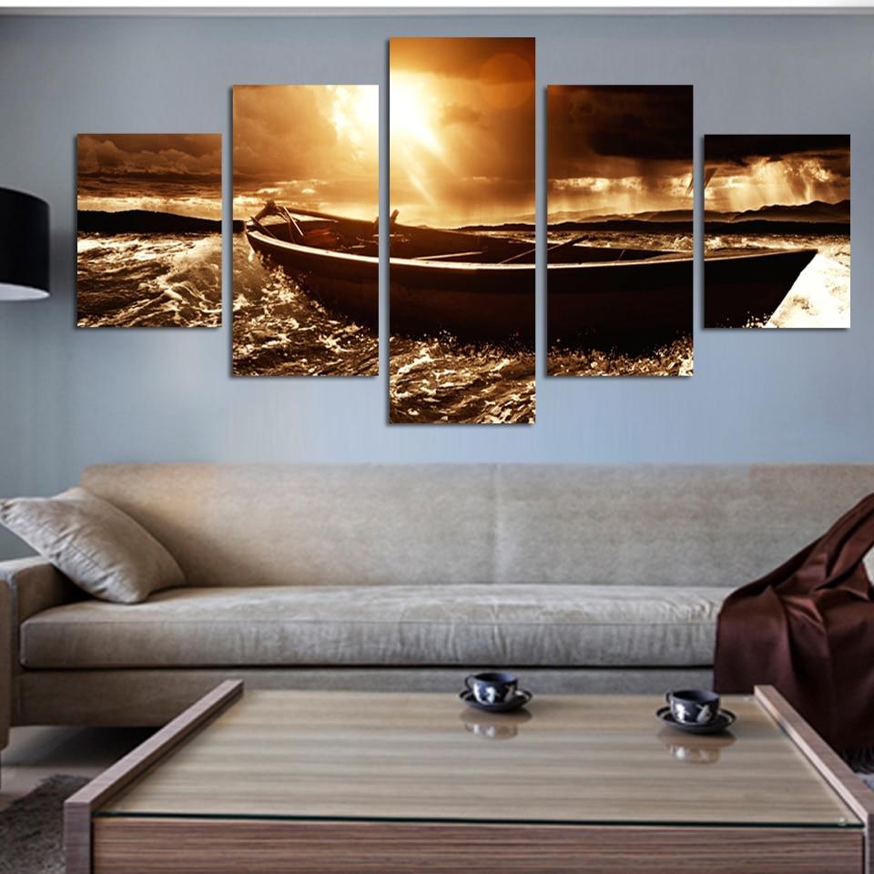 ᐂ5 panel impresiones modernas playa paisaje marino barco de mar ...
