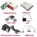 Raspberry Pi 3 Modelo B con WIFI y Bluetooth + Abs + Ventilador + 3 unids disipador de calor + fuente de alimentación + cable de HDMI a VGA con audio