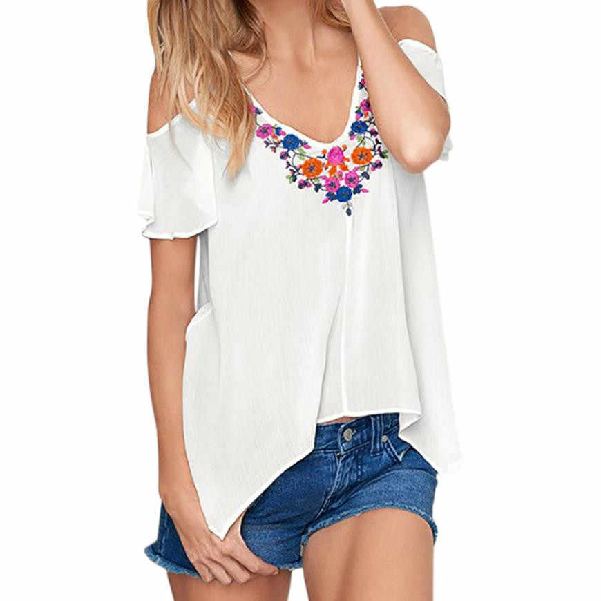 94ea4f493a71e Detail Feedback Questions about NEW Women Casual V Neck White Blouses  Summer Ladies Short Sleeve Off Shoulder Tops Shirt Girls Boho Floral  Printed Blouse ...
