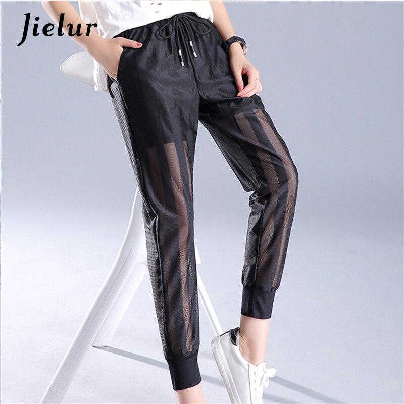 Thin Mesh Perspective Harem   Pants   Female Summer Korean Pop Cool Loose Casual   Pants   Women Stripe Black White Pantalon Femme S-XXL