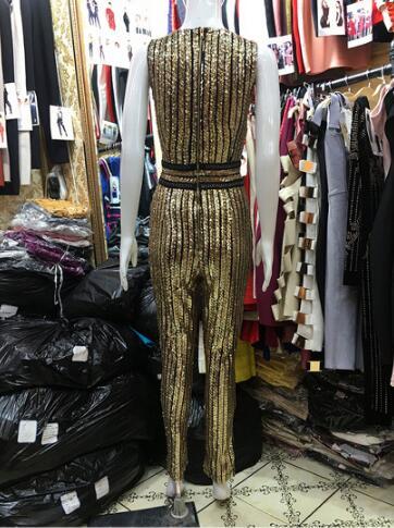D'une Gold cou Rayé Long Barboteuses Sexy Vêtements V Hors L'épaule Profonde Pièce Pantalon Paillettes Combinaisons De Seule wxqvapRcq
