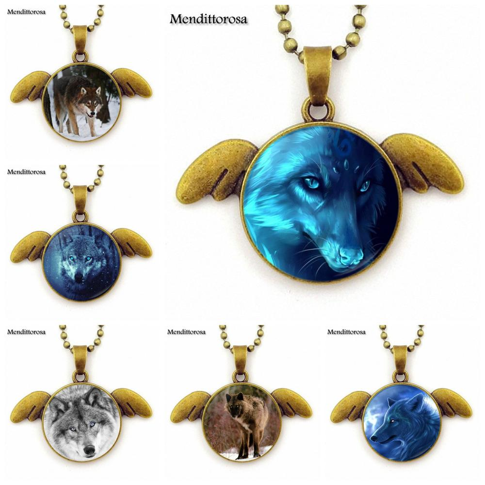 For Women Men Christmas Jewelry Bronze Plated Glass Cabochon Angel Wings Pendant Necklace Blue Wolf Eyes