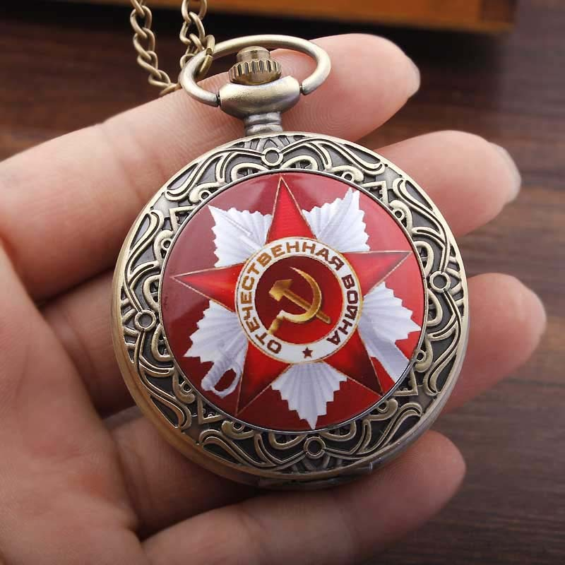 Vintage USSR Soviet Badges Sickle Hammer Pocket Watch Necklace Bronze Pendant Chain Clock CCCP Russia Emblem Communism Men Women 41