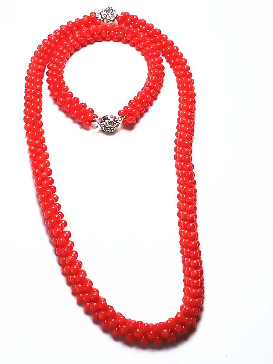 Koraba Natural 3mm Red Coral Hand Knit Necklace Bracelet 925 Silver Buckle Gemstone Women Jewelry SetKoraba Natural 3mm Red Coral Hand Knit Necklace Bracelet 925 Silver Buckle Gemstone Women Jewelry Set