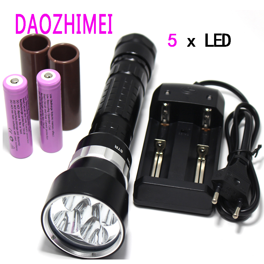 все цены на XM-L2 LED T6 led underwater diver flashlight torch waterproof rechargeable 18650 or 26650 camping hunting diving light онлайн