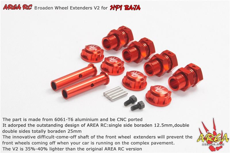Area RC Broaden Wheel Extenders V2 for BAJA