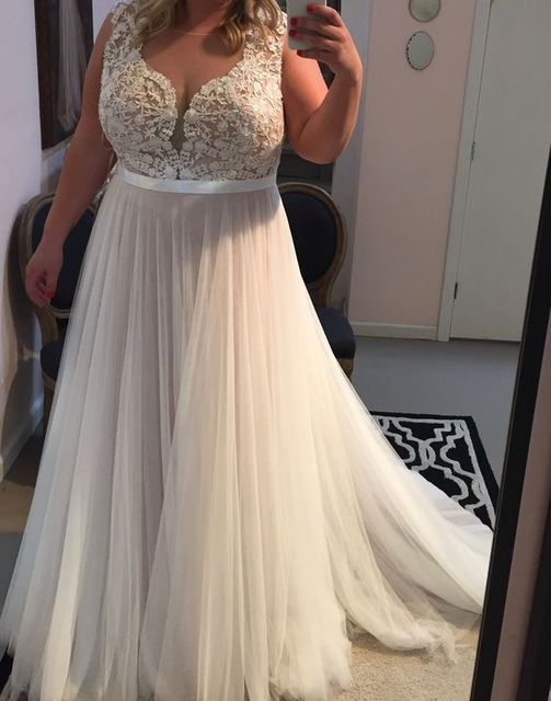 2017 Elegant Plus Size Prom Dress Evening Dress A line White Lace ...