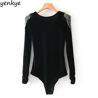 Fashion Beading Velvet Bodysuit Women Jumpsuit Vintage Black Long Sleeve Blouse Sexy Playsuit Tops XNGC9187