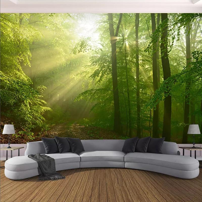 3D Wallpaper Modern Green Forest Sunshine Landscape Photo Wall Murals Living Room TV Sofa Background Wall Decor Papel De Parede