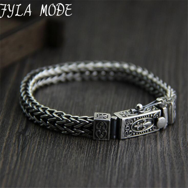 Brand 925 Silver Bracelet 100 925 Solid Silver Fashion Jewelry Braided Dragon Body Bone Thai Silver