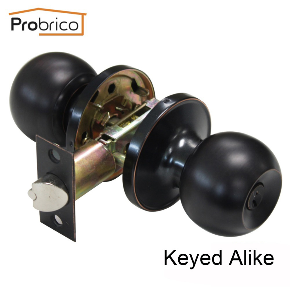 Probrico Keyed Alike Door Lock Stainless Steel Security Safe Lock Vintage Door Handle Knob Entrance Locker цена