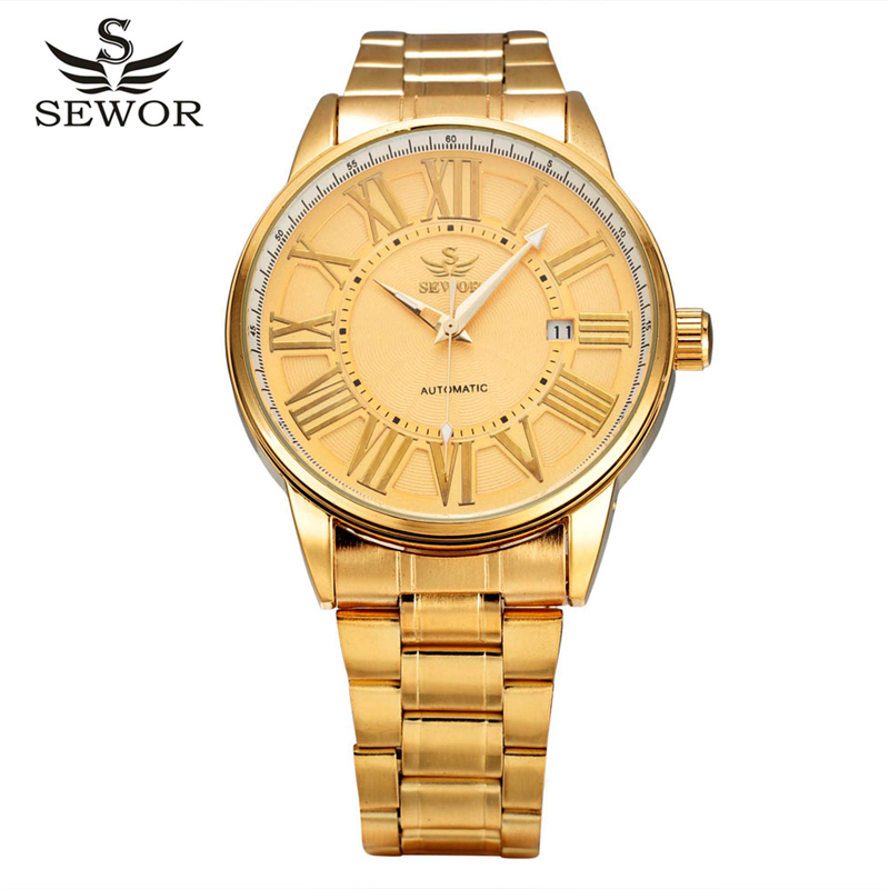 Sewor Luxury Brand Men Mechanical Business Gold Watch Skeleton Automatic 2016 Fashion Relogio Masculino Strap Watches SWQ31 forsining gold hollow automatic mechanical watches men luxury brand leather strap casual vintage skeleton watch clock relogio