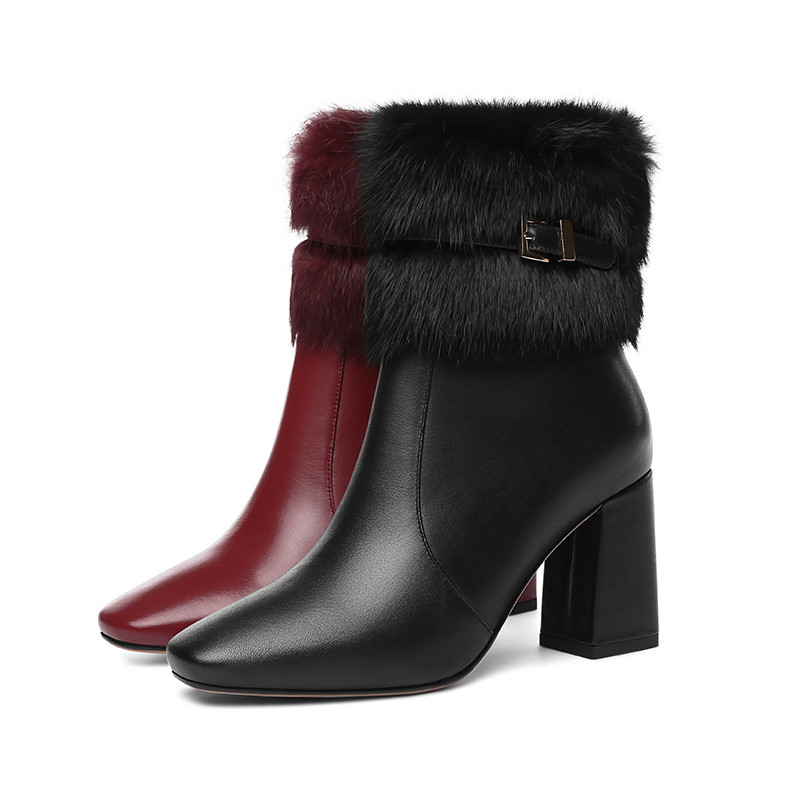 Image 2 - MORAZORA 2020 new arrival genuine leather ankle boots women square toe keep warm winter boots fashion high heels shoes woman-in Ankle Boots from Shoes
