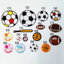 100 Pcs/lot Embroidered Patches Cloth Football Soccer Baseball for Shoes Hats Decoration Sewing Accessories Wholesale(China)