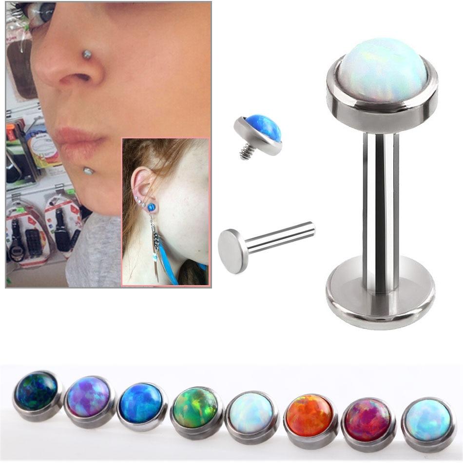 Hot Opal Lip Piercing Örhängen G23 Titanium 9 Färgval 20 Gauge 1.2x6x3 / 4 / 5mm Ball Piercing Labret Labio Män Kropps Smycken