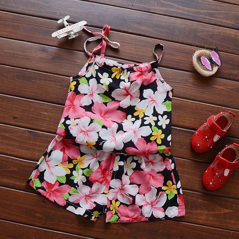Summer Baby Girls Floral Print Shoulder strap Vest Tops + Beach Shorts 2pcs Suits Kids Clothing Set conjunto roupas de bebe childrendlor baby brocade floral print