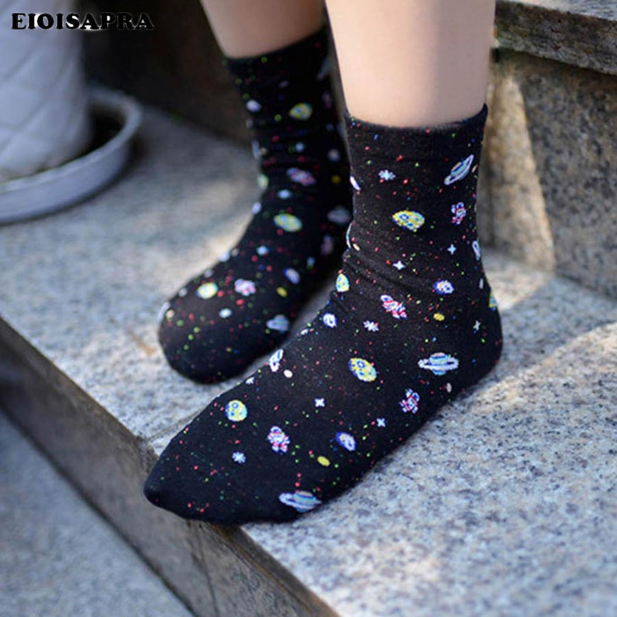 [EIOISAPRA]Cotton Women Space Astronaut Planet   Socks   Korean Women's Summer Fashion   Socks   Universe Novelty Short Funny Sokken