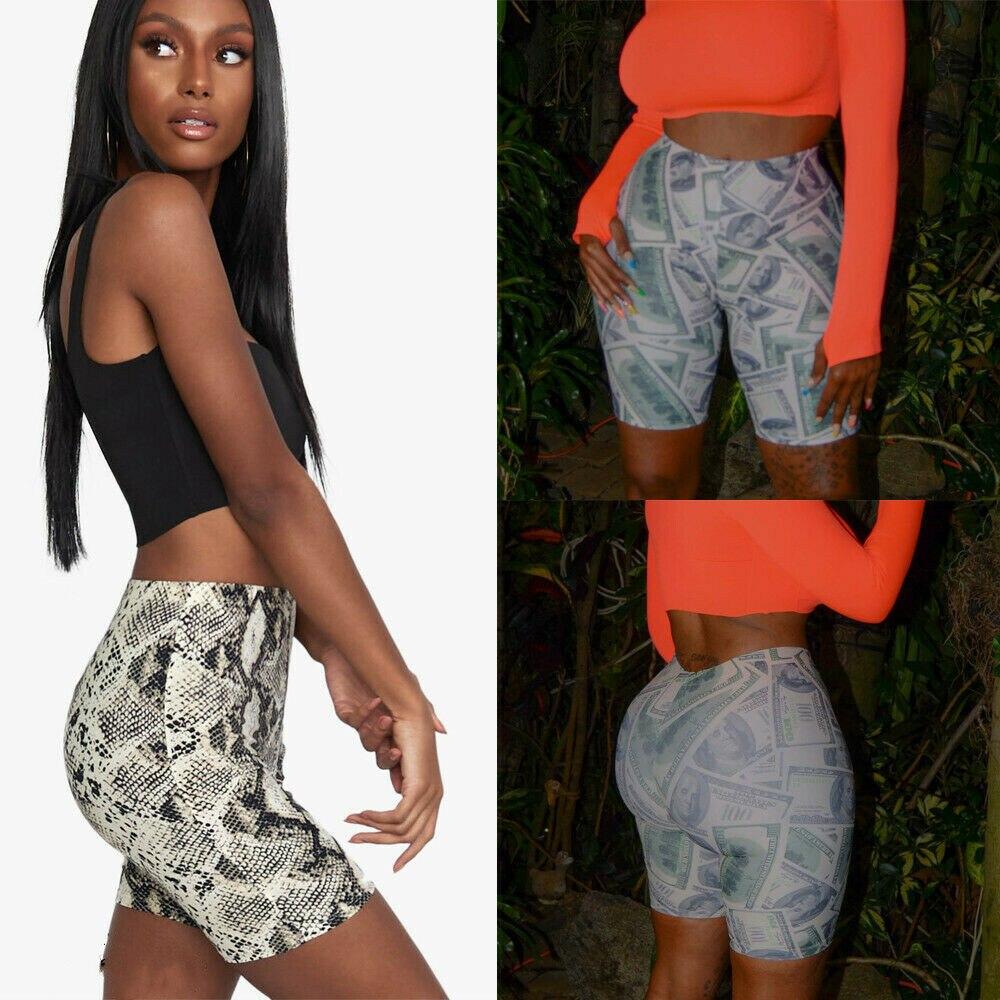 Hirigin Womens Casual Hot Print Shorts Dance Cycle Fitness High Waist Stretch Mini Shorts