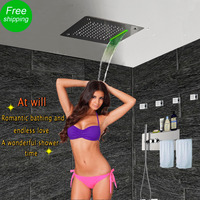 Massage Jets Wall Shower Panel Towel Rack Holder Shelf LED Ceiling Shower Head Thermostatic Mixing Valve
