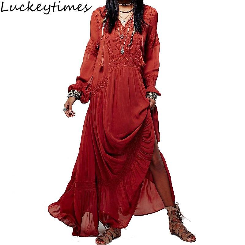 2019 été Vintage fête longue robe femmes bohème broderie bohème Maxi ethnique femme robes Chic Hippie lâche robes