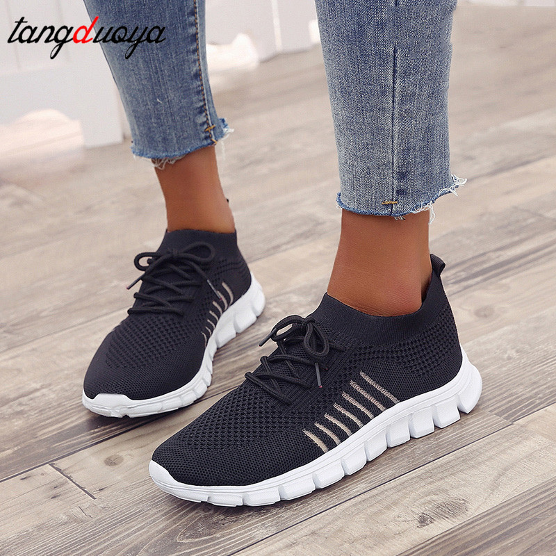 Running Shoes For Women Sneakers Lace Up Sneakers Women Sock Shoes Breathable Mesh Shoes Women Summer Sport Shoes Woman Athletic